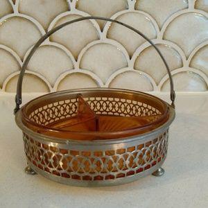 VTG Antique Relish Dish Amber Glass